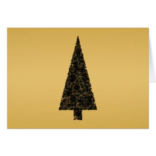 Stylish Christmas Tree. Black and Gold. Card