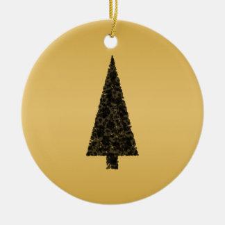 Stylish Christmas Tree. Black and Gold. Ceramic Ornament