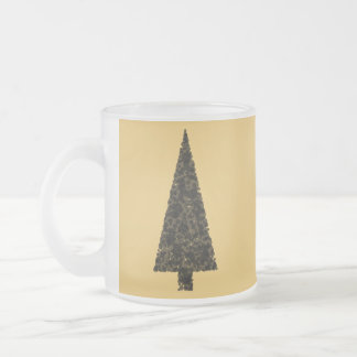 Stylish Christmas Tree. Black and Gold. Frosted Glass Coffee Mug