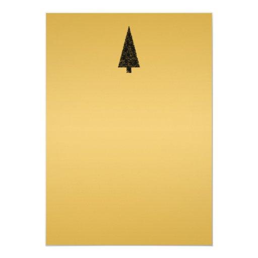 Stylish Christmas Tree. Black and Gold. Invites
