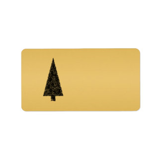 Stylish Christmas Tree. Black and Gold. Label