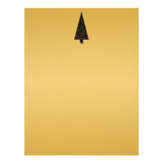 Stylish Christmas Tree. Black and Gold. Letterhead