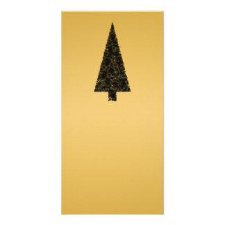 Stylish Christmas Tree. Black and Gold. Photo Card