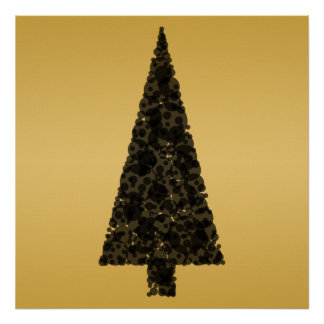 Stylish Christmas Tree. Black and Gold. Poster