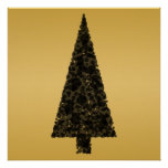 Stylish Christmas Tree. Black and Gold. Posters