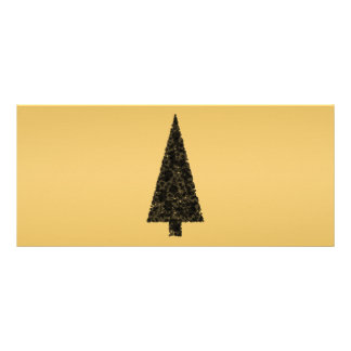 Stylish Christmas Tree Black and Gold Custom Rack Card