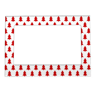 Stylish Christmas Trees Red Pattern Gift Magnetic Photo Frame