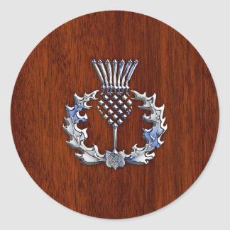 Stylish Chrome and Mahogany Wood Scottish Thistle Classic Round Sticker