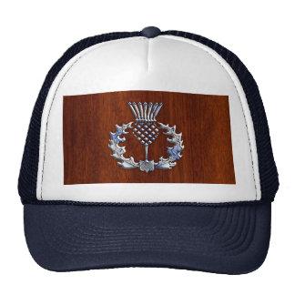 Stylish Chrome and Mahogany Wood Scottish Thistle Trucker Hat