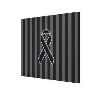 Stylish Chrome Black Ribbon Awareness Canvas Print