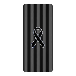 Stylish Chrome Black Ribbon Awareness Card