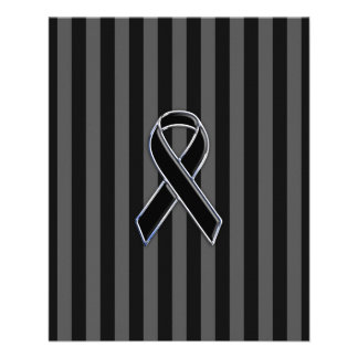 Stylish Chrome Black Ribbon Awareness Flyer