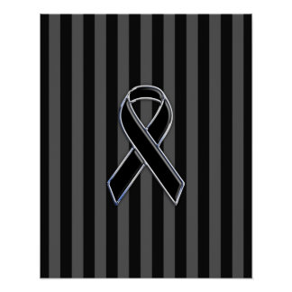 Stylish Chrome Black Ribbon Awareness Poster