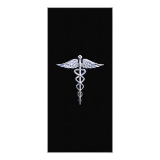 Stylish Chrome Like Caduceus Medical Symbol Rack Card