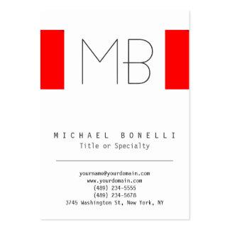 Stylish Chubby Monogram White Red Business Card