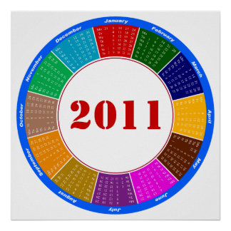 Stylish Circular 2011 Calendar Poster