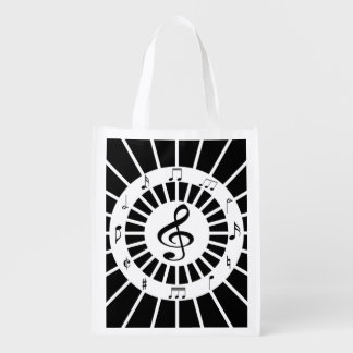 Stylish circular black white musical notes design grocery bag
