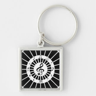 Stylish circular black white musical notes design keychain