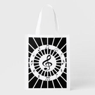 Stylish circular black white musical notes design market totes