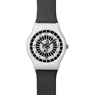 Stylish circular black white musical notes design watches