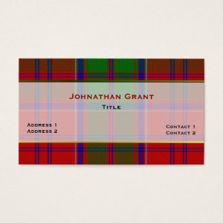 Stylish Clan Grant Plaid Custom Business Card