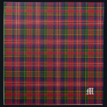 """Stylish Clan MacPherson Monogram Tartan Plaid Cloth Napkin<br><div class=""""desc"""">Handsome traditional colorful clan MacPherson tartan plaid pattern.  A single white old world letter monogram,  in the bottom right corner is ready to personalize for yourself or as a great gift idea. Matching place mats and other products available.</div>"""