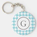 Stylish classic aqua blue houndstooth monogram basic round button keychain