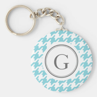 Stylish classic aqua blue houndstooth monogram keychain
