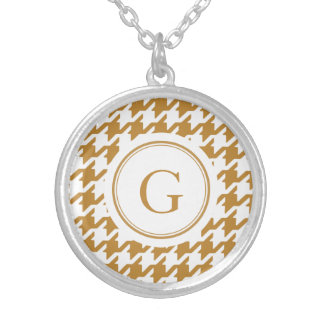Stylish Classic gold houndstooth with monogram Round Pendant Necklace