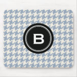 Stylish Classic grey houndstooth black monogram Mouse Pad
