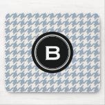 Stylish Classic grey houndstooth black monogram Mousepad