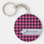 Stylish classic pink houndstooth with monogram keychains