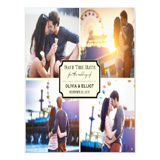 Stylish Classic Plate Save The Date Photo Magnetic