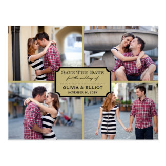 Stylish Classic Plate Save The Date Photo Postcard