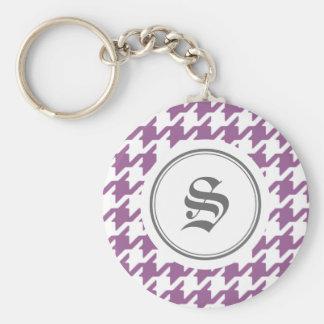 Stylish classic purple houndstooth with monogram keychain