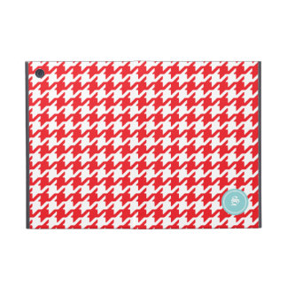 Stylish classic red houndstooth with monogram case for iPad mini
