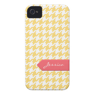 Stylish classic yellow houndstooth with monogram iPhone 4 case
