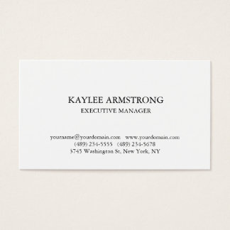 Stylish Classical Plain Simple White Professional Business Card