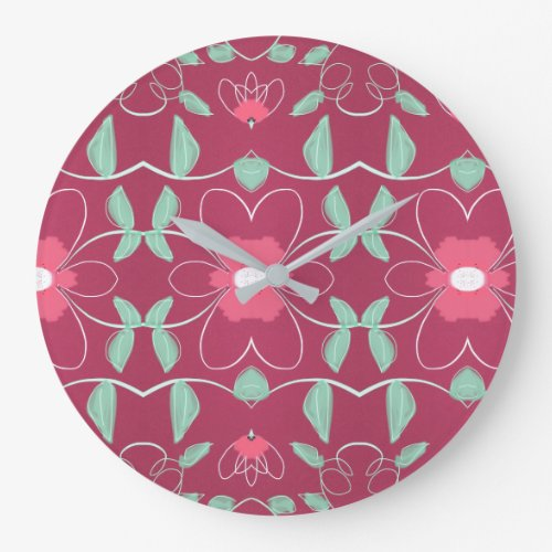 Stylish Clock With Rose And Pinks - pink wall clocks