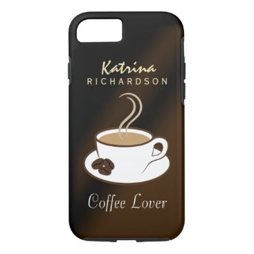 Coffee Themed Stylish Coffee Lover Steaming Cup and Beans Tough iPhone 8/7 Case