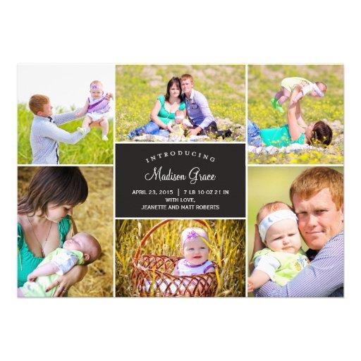 Stylish Collage Birth Announcement Custom Invites