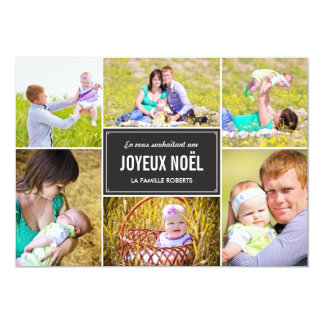 Stylish Collage Holiday Photo Card - Charcoal