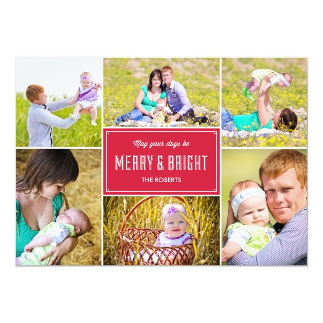 Stylish Collage Holiday Photo Card - Red