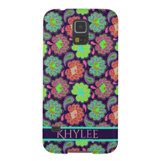 Stylish Colorful Paisley with Personalized Name Galaxy S5 Case