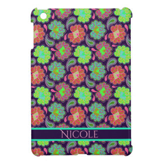 Stylish Colorful Paisley with Personalized Name iPad Mini Cases