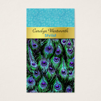 Stylish Colorful Peacock Business Card