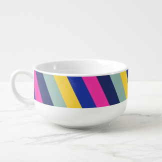 Stylish Colorful Pink Yellow Blue Stripes Pattern Soup Bowl With Handle