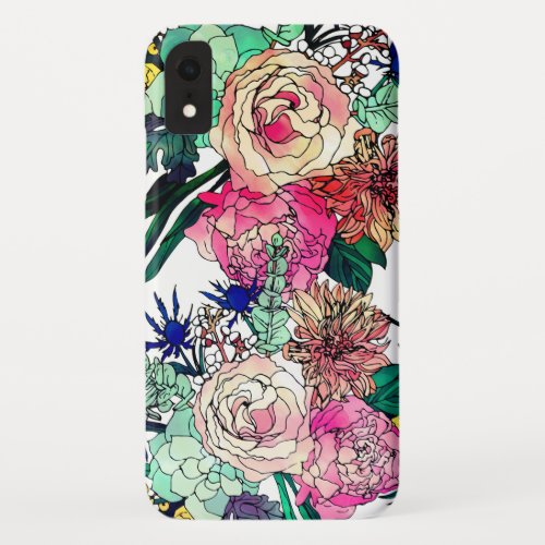 Stylish Colorful Watercolor Floral Pattern Phone Case
