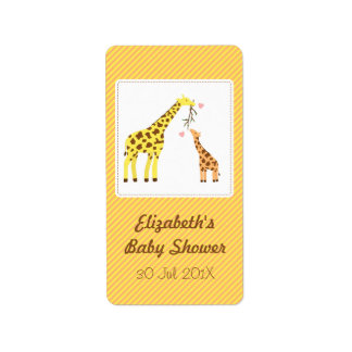 Stylish Colourful Giraffe Baby Shower Party Label