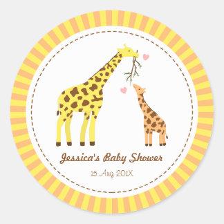 Stylish Colourful Giraffe Calf Baby Shower Party Classic Round Sticker